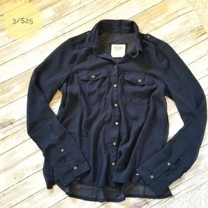 Abercrombie & Fitch Sheer Button Down Navy Blue